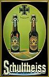 Blechschild Nostalgieschild Schultheiss Bier Berlin 2 Flaschen Eisernes Kreuz Reklame Schild