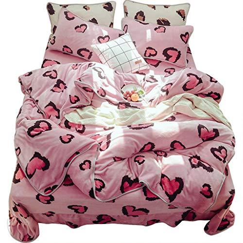 Houlingmei Bettbezug- Warme doppelseitige Flanellblätter aus vierseitigem Milchsamt, Steppdeckenbezug aus Korallenfleece mit Samt (Farbe : Picture A, größe : 1.5m)