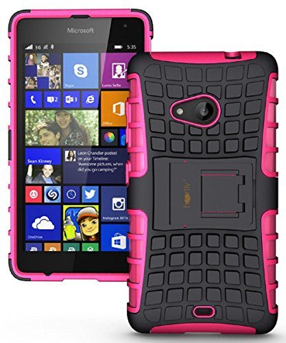 Heartly Flip Kick Stand Spider Hard Dual Rugged Armor Hybrid Bumper Back Case Cover For Microsoft Nokia Lumia 535 - Cute Pink
