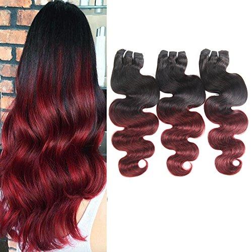 t Brasilianisches Haar Körper Welle 8a 3 Bündel echtes Ombre menschliches Haar Verlängerungen natürliche Schwarz zu Weinrot doppelte Schuß zwei Farbton Haar Stücke 16 18 20 Zoll ()