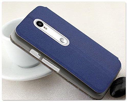 Heartly GoldSand Sparkle Luxury PU Leather Window Flip Stand Back Case Cover For Motorola Moto G3 / Moto G 3rd Generation / Moto G Turbo – Power Blue