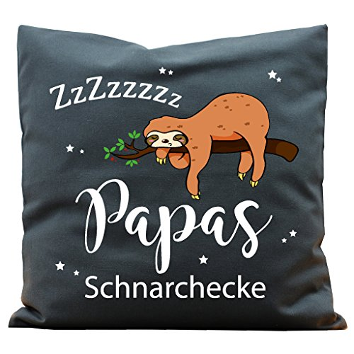 Wandtattoo-Loft Kissen Bedruckt Papas Schnarchecke Faultiers Baumwolle 40 x 40 cm / 16 Stoff Dunkelgrau