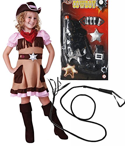 Cowgirl-Kostüm Cutie Girls Outfit mit Gun & Peitsche Alter von (Cowgirl Kind Kostüme Cutie)