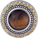 Morella Damen Click-Button Druckknopf mit brauner Perle und gelben Zirkoniasteinen