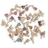 Gazechimp 50er Holzklammern Wäscheklammern | kleine wäscheklammern Set für Fotos Geschenke Dekoration - Farbe1