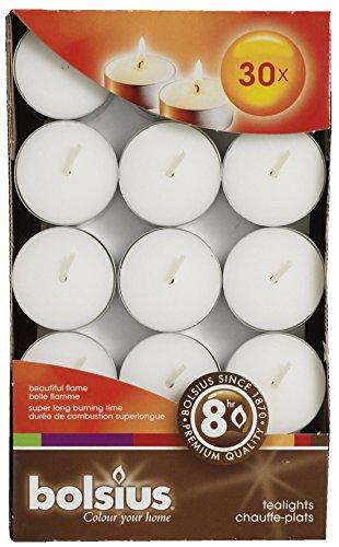Gran velas de té, duración de hasta 8 horas, 30 pcs, de color blanco