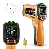 Termometro a infrarossi Janisa AD6530D Infrarosso Pistola Termometro Digitale Temperatura Raggio da -50°C a 800 °C con K-tipo termocoppia LCD display a Colori Retroilluminato Funzione Allarme Batteria Inclusa