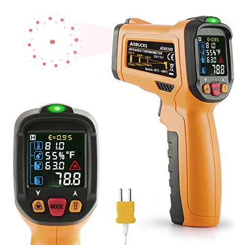 Termometro a infrarossi Janisa AD6530D Infrarosso Pistola Termometro Digitale Temperatura Raggio da -50°C a 800°C con K-tipo termocoppia LCD display a Colori Retroilluminato Funzione Allarme Batteria Inclusa