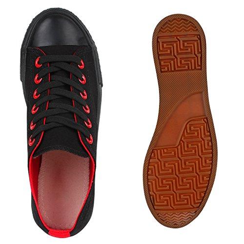 Sportliche Damen Sneakers Kult Nieten Flach Schnürer Schuhe Schwarz Rot
