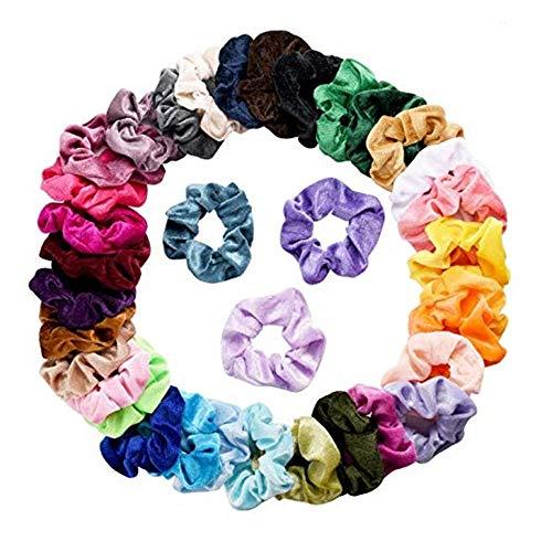 jieGREAT Räumungsverkauf  , 36 Stück samt elastische Haarbänder Haargummi für Frauen oder Mädchen Haarschmuck - Voraus-gel Feuchtigkeitscreme