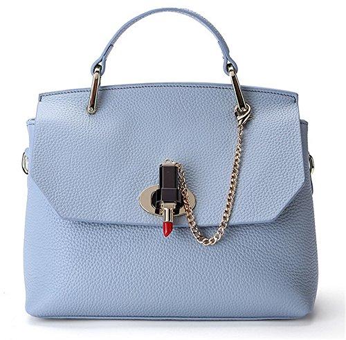 Xinmaoyuan Borse donna Borse in pelle di moda spalla platino borsa messenger in pelle morbida borsa Blue