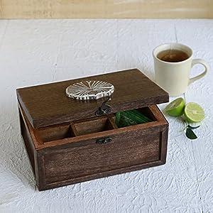 Store Indya, Boîte de Boîte à thé 6 compartiments Accessoires pour souvenirs Fournitures pour artisanat Outils Cuisine à la maison Collecte décorative (Marron3)