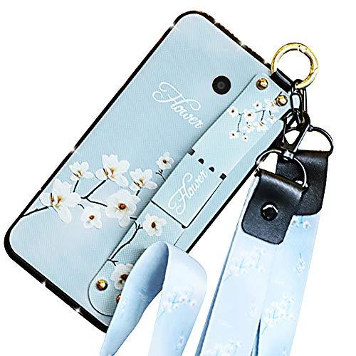 Hpory Cover per Samsung Galaxy J7 2017 Custodia Morbido Gel BackCover Caso con Supporto di Stand/Strap/Diamante[Pelle PU+TPU] - Antiurto Protezione Dust Resistant Bumper Custodia, Fiori Rossa