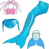 Likeep Meerjungfrauenschwanz Mermaid Bikini Kostüm zum Schwimmen mit Meerjungfrau Flosse Für Mädchen, Kinder (Rosa + Hellblau, 150)