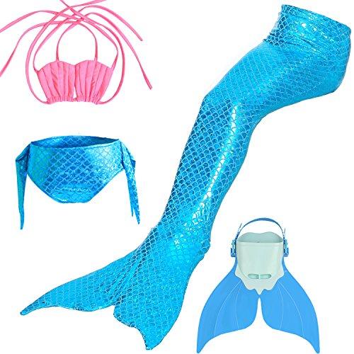 LIKEEP Meerjungfrauenschwanz Mermaid Bikini Kostüm zum Schwimmen mit Meerjungfrau Flosse Für Mädchen, Kinder (Rosa + Hellblau, (Erwachsene Sexy Meerjungfrau Kostüme)