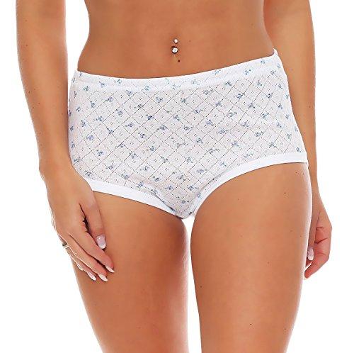 4er Pack Damen Slips aus Baumwolle (weiß / geblümt) Nr. 420 ( Modell 1 (Jaquard)