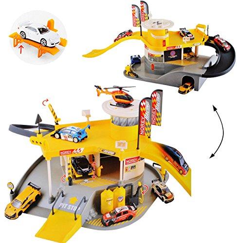 alles-meine.de GmbH großes Komplettset: 3-D Spielmatte -  Parkhaus - Garage mit Tankstelle, Hubschrauberlandeplatz, Lift - 2 Ebenen  - 1/64 - Spielwelt + Zubehör - Rennstrecke .. - Baustelle Matchbox