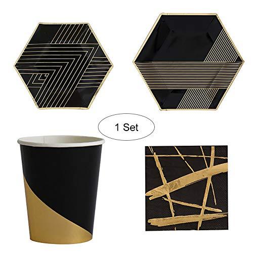 Ouken 44pcs Party Einweg-dinnerware-Sets für die Graduierung Geburtstag Black Party Geschirr Bronzing Gold Party Papier Platten.