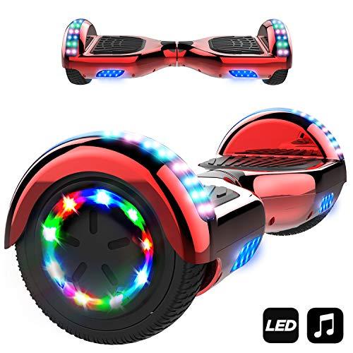 Markboard Patinete Eléctrico 6.5' con Luces LED, Flash Ruedas, Cinco Estrellas con Bluetooth, Scooter Monopatín Auto Equilibrio