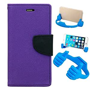 Aart Fancy Diary Card Wallet Flip Case Back Cover For HTC616 - (Purple) + Flexible Portable Mount Cradle Thumb Ok Stand Holder By Aart store