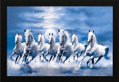 PAF Vastu Seven Lucky Running Horses Framed Wall Art Paintings (Wood,35cmx 2Cmx...
