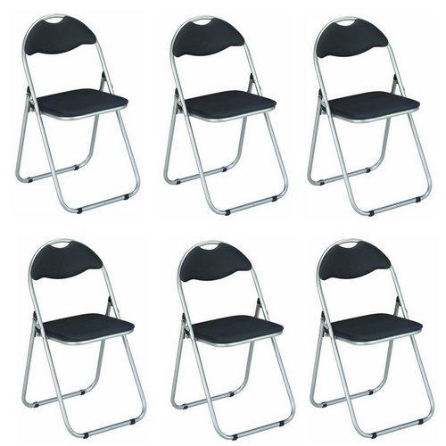 Haku Möbel - Lote de 6sillas plegables (metal), metal, aluminio/negro, 44x47x80