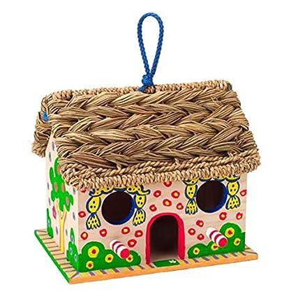 Alex 663W-5 Decora la Casa degli Uccellini in Legno e Tetto in Paglia, Multicolore