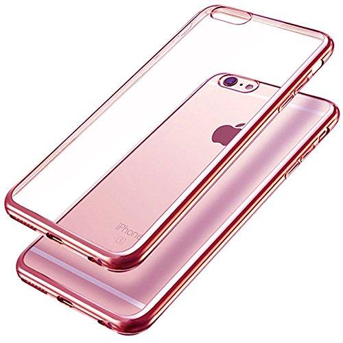 iPhone 6s Hülle, iPhone 6 Hülle, koala group Plattierung Metallrahmen TPU weichen Gel-Silikon & Ultra-Thin Schlag beständig transparente Schutzhülle Hülle für iPhone 6 / 6S---Rosen-Gold