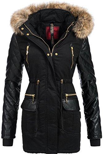 Navahoo sara cappotto trapuntato da donna, invernale, con grande cappuccio con pelliccia ecologica nero xxl