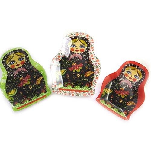 Les Trésors De Lily N1221 - Set de 3 plateaux gigognes 'Poupées Russes' rouge vert
