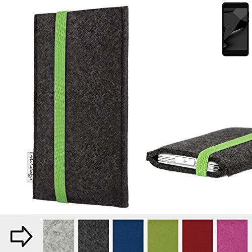 flat.design Handy Hülle Coimbra für Blaupunkt SL Plus 02 handgefertigte Handytasche Filz Tasche fair grün dunkelgrau