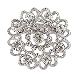 Hosaire 1X Fashion Elegant Diamond Hollow Diamond-studded Heart Wedding Bridal Brooch Pin Rhinestone Covered Scarves Shawl Clip For women's Ladies Jewelry(Silver)