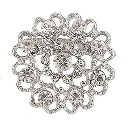 Hosaire 1X Fashion Elegant Diamond Hollow Diamond-studded Heart Wedding Bridal Brooch Pin Rhinestone Covered Scarves Shawl Clip For women's Ladies Jewelry(Silver)
