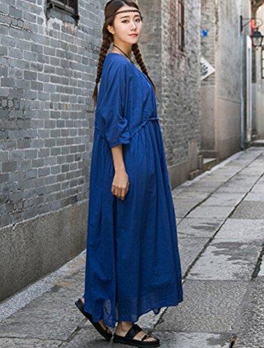 MatchLife Femmes Manches 3/4 O-Cou Robe Bleu