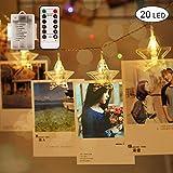 Hoovo Star LED Foto Clip String Licht 3 M 20 LEDs 8 Modus Fernbedienung Batteriebetriebene zum Aufhängen von Fotos, Karten Artwork (warmes Weiß)