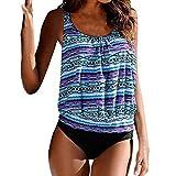 TINGSU 9 Farben Bikini Set für Jugendliche Frauen Sexy Push Up Gepolsterter BH Top und Böden Badeanzug Beachwear (Blau, 2XL)
