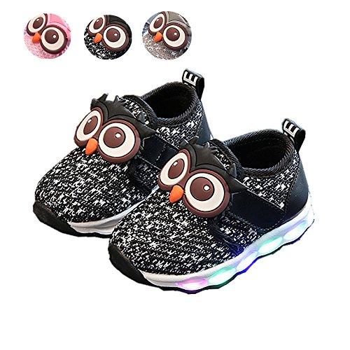 LED Baby Schuhe, Chickwin Mesh Atmungsaktiv Baby LED Kinderschuhe Unisex Niedlich Eule Rutschfest Bunte Bequem LED-Leuchten Schuhe SportSchuhe Flashing Schuhe (24 / Maß Innen (cm) 14.5, (Kinder Kostüm Richter)