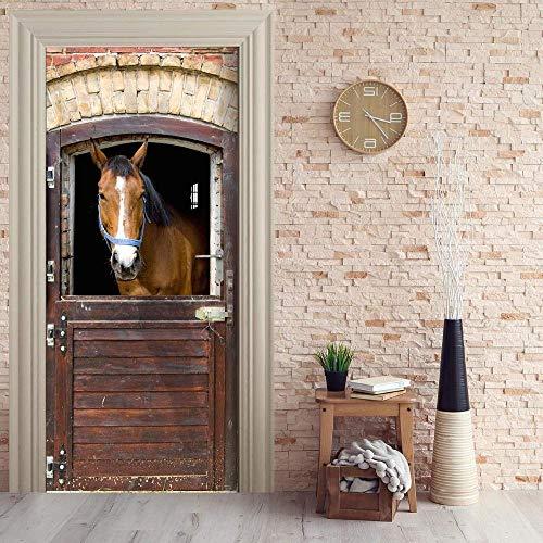 3D Tür Aufkleber braunes Pferd Stall Poster Wandbild Tapete dreidimensionale Heim Hintergrund Schlafzimmer Tür Dekoration selbstklebende PVC selbstklebende Stereo er 77x200cm