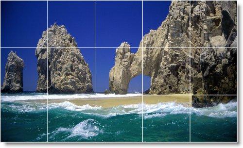PLAYA IMAGEN BALDOSA CERAMICA MURAL B042  18X 30CM CON (15) 6X 6AZULEJOS DE CERAMICA