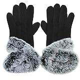 CASPAR GLV012 klassisch elegante Damen Winter Baumwoll Handschuhe mit stylischem Fell Dekor und Touchscreen Funktion, Farbe:schwarz;Größe:One Size
