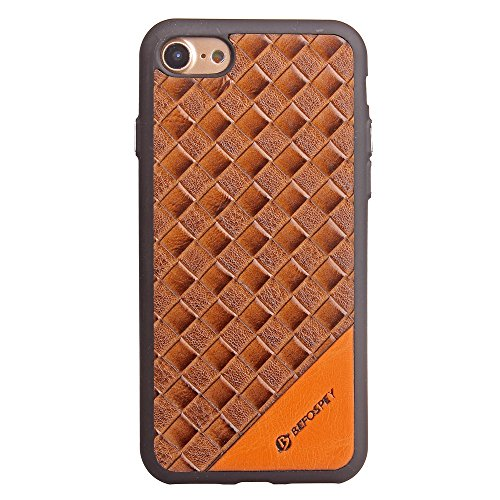 Frosted Weaving Texture Back Cover Soft Ultra Thin Slim Shell Cover Case mit Galvanisierungsknopf für iPhone 7 ( Color : Black ) Brown