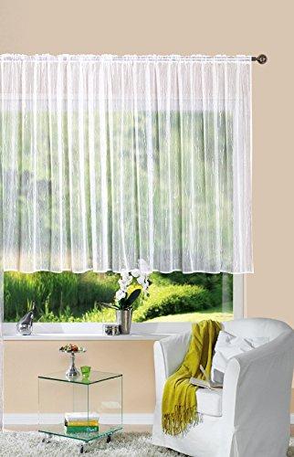 Gardine Store Jacquard Isabella HxB 145x300 cm Kräuselband Universalband Weiß Längsstreifen Transparent Voile Vorhang Wohnzimmer, 13145 - Isabella-stoff