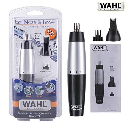 Wahl 5545-2416 - Cortadora de vello para orejas y nariz, 3 en 1, lavable, funciona con pilas