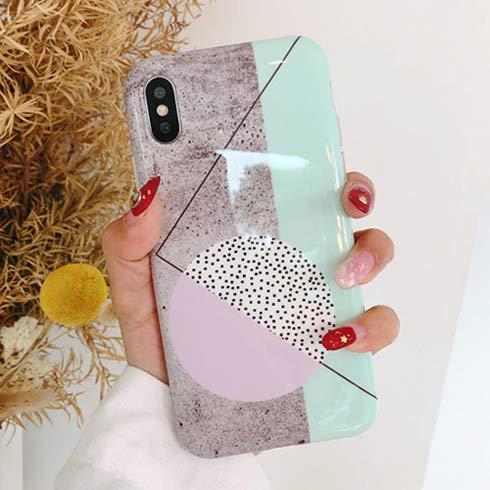 XMDSJKGC Fundas Cajas Estuche De Teléfono Geométrico De Empalme De Mármol para iPhone X 6S 7 8 Plus Moda Lindo Círculo De Línea Colorida Punto De Onda De Contraportada, Style1, para El iPhone 7