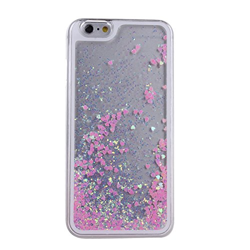 IFEDA iPhone 5/5s Case Coque Housse Etui Transparent Clair Cristal dur plastique Cover étui de protection Liquide se écoulant Bling Glitter Sparkles pour iPhone 5/5s Rose