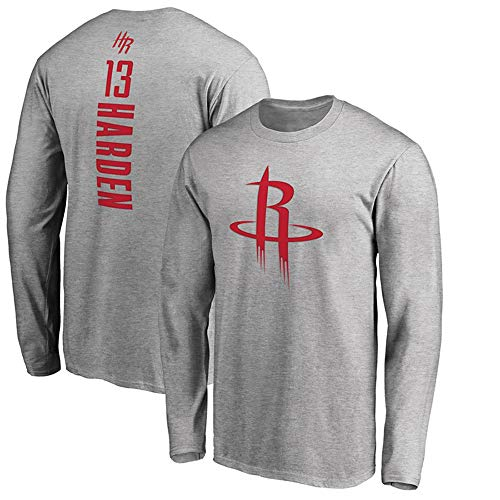 Herren Basketball NBA Trikot Houston Rockets James Harden T-Shirt Langarm Bekleidung Für Jugend Sweatshirt S-XXXL Grey-M
