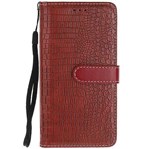 ocketcase® Wiko U Feel Prime Hülle, PU Leder Flip Case Wallet Stylish mit Standfunktion Schutzhülle (Krokodilkorn 2)