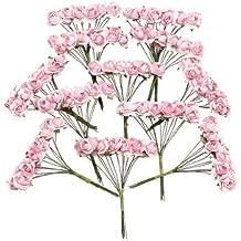 TOOGOO (R) Aprox. 144pcs mini paper rosa de la flor por craft favor de la boda (rosa )