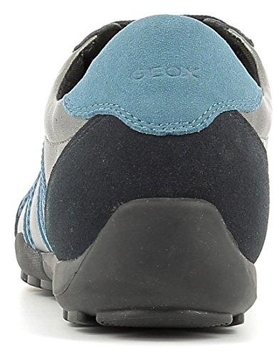 Geox D746DA Ravex Sportlicher Damen Sneaker, Schnürhalbschuh, Freizeitschuh, Snake, atmungsaktiv, Wechselfußbett GUN/NAVY
