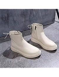 f70d2954debe5 IWxez Botas de Moda para Mujer PU (Poliuretano) Botas Casuales de Invierno  Botas de tacón Medio de Ternera Blanca Negra